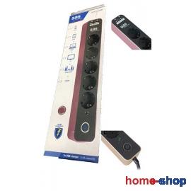 Πολύπριζο Ασφαλείας 5 Σούκο 2 USB SAS