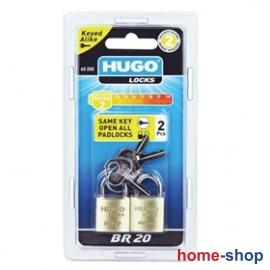 Λουκέτα ορειχάλκινα 2τεμ. ίδιων κλειδιών HUGO LOCKS BR
